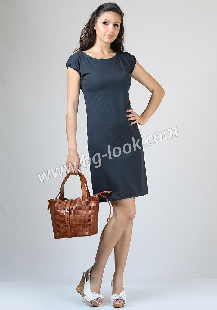 84aa5a5aa47 Права сива рокля от памучно трико Basic Line - Дрехи Fashion Colors ✨