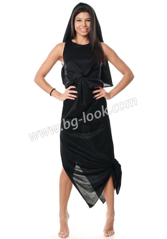 e60f1e775da Елегантна рокля в черно с интересна кройка и качулка City Safari ...