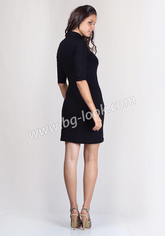 796a1f1a52a Права, черна поло рокля с 3/4 ръкав Basic Line - Дрехи Fashion Colors ✨