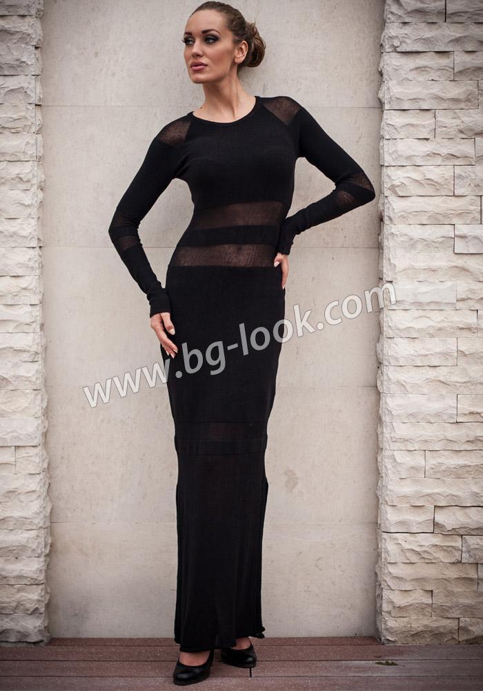 3a9a929ebd7 Черна дълга плетена рокля с две цепки Z13 - Дрехи Fashion Colors ✨