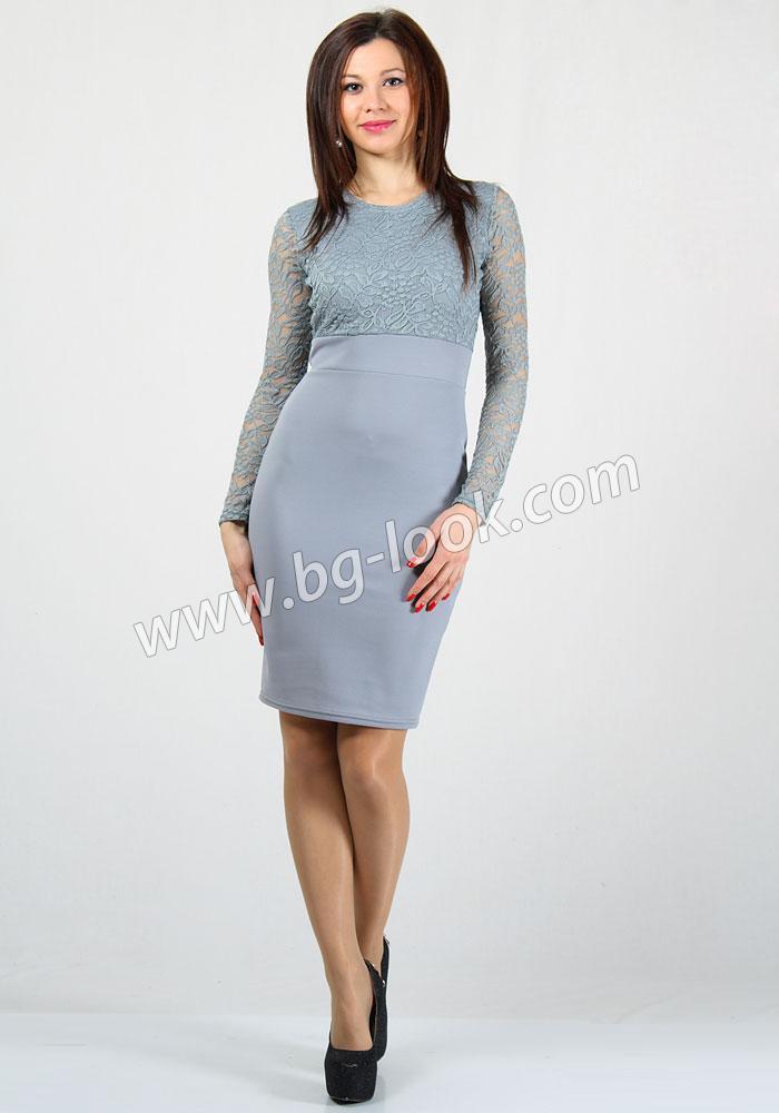 19c02e4630f Дамска елегантна рокля в комбинация със сива дантела RUMENA - Дрехи ...