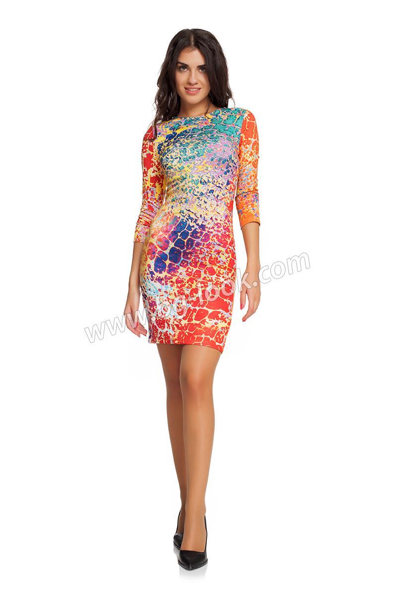 14962bcbc6c Къса рокля с дълъг ръкав оранжев принт - Дрехи Fashion Colors ✨