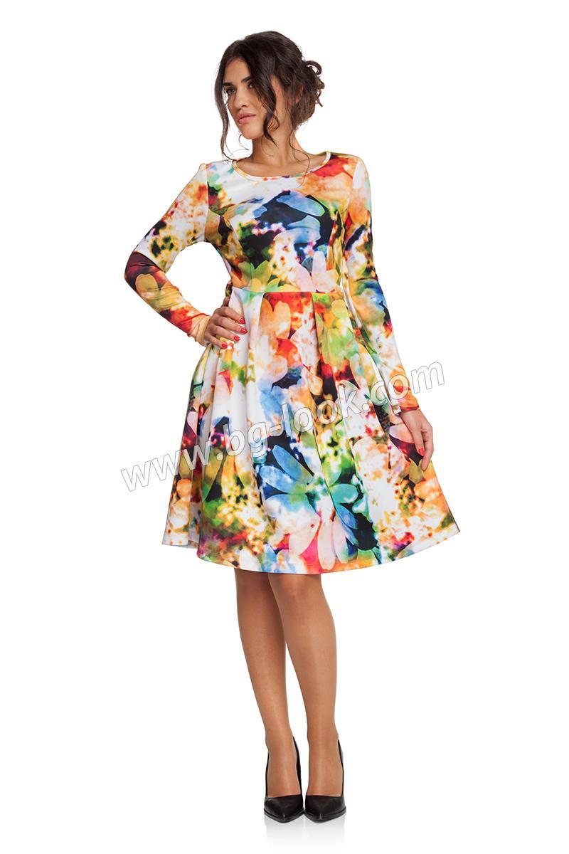 ee6ee4dc8fa Дълга разкроена рокля на червени и сини цветя - Дрехи Fashion Colors ✨