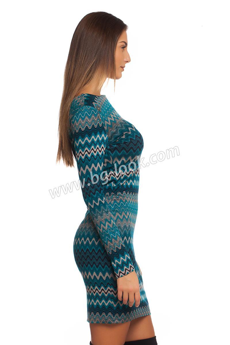 7cd795e9af5 Рокля с вълна в принт синьо-тюркоазен зиг-заг - Дрехи Fashion Colors ✨