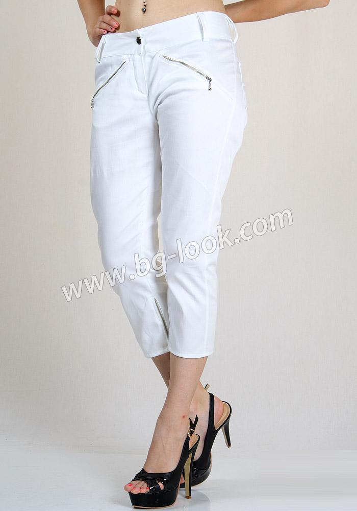 8a0a817859a Бял панталон 3/4 дължина с ципове с еластична талия RUMENA - Дрехи ...