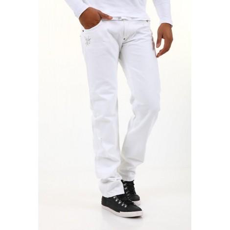 9bf78635a41 BSA by Einstein - мъжки панталон с бродериия бял - Дрехи Fashion ...