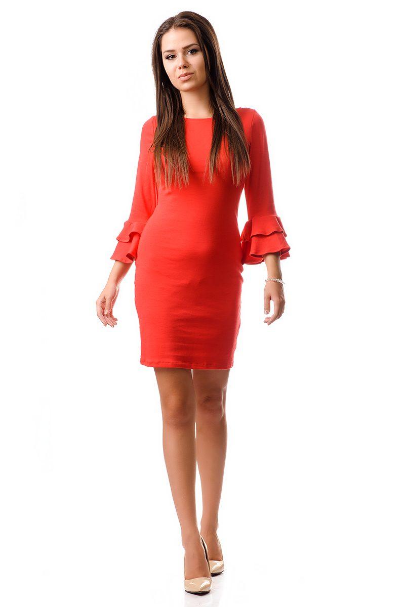 Къса червена рокля с клош ръкав - 102410 - Дрехи Fashion Colors ✨ 6a98b0b201e