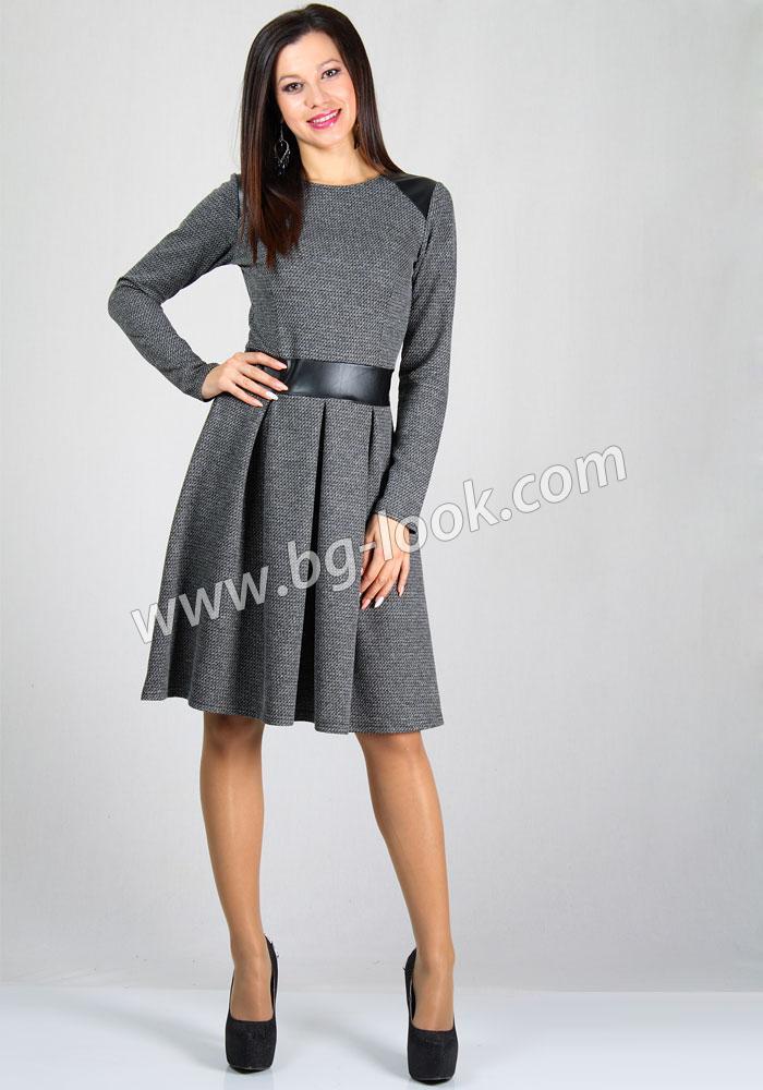 d735087ad92 Дамска рокля в черно-бял меланж с кожени елементи RUMENA - Дрехи ...