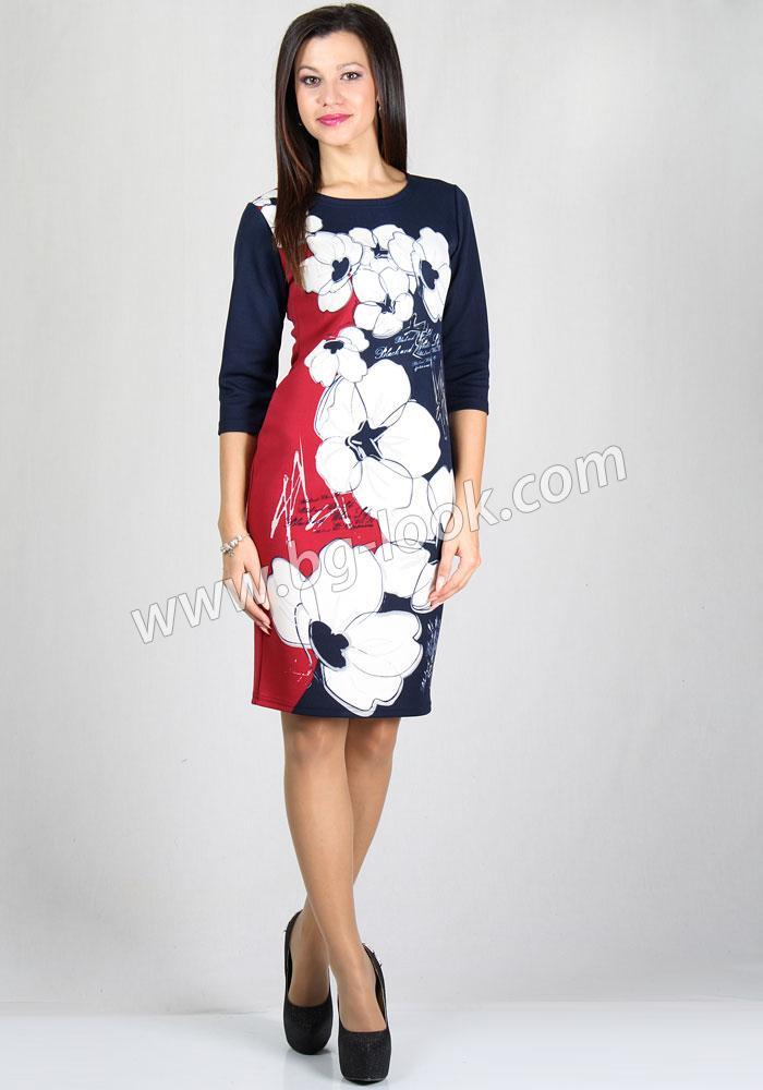 12fe67304ea Дамска рокля на цветя с 7/8 ръкав RUMENA - Дрехи Fashion Colors ✨