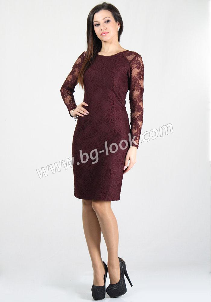 b2b16e5f4bc Елегантна дантелена рокля в цвят марсала RUMENA - Дрехи Fashion ...