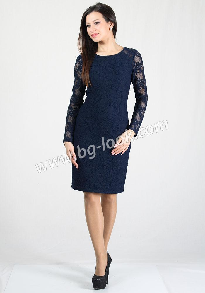 99bb8adab55 Елегантна дантелена рокля в тъмносин цвят RUMENA - Дрехи Fashion ...
