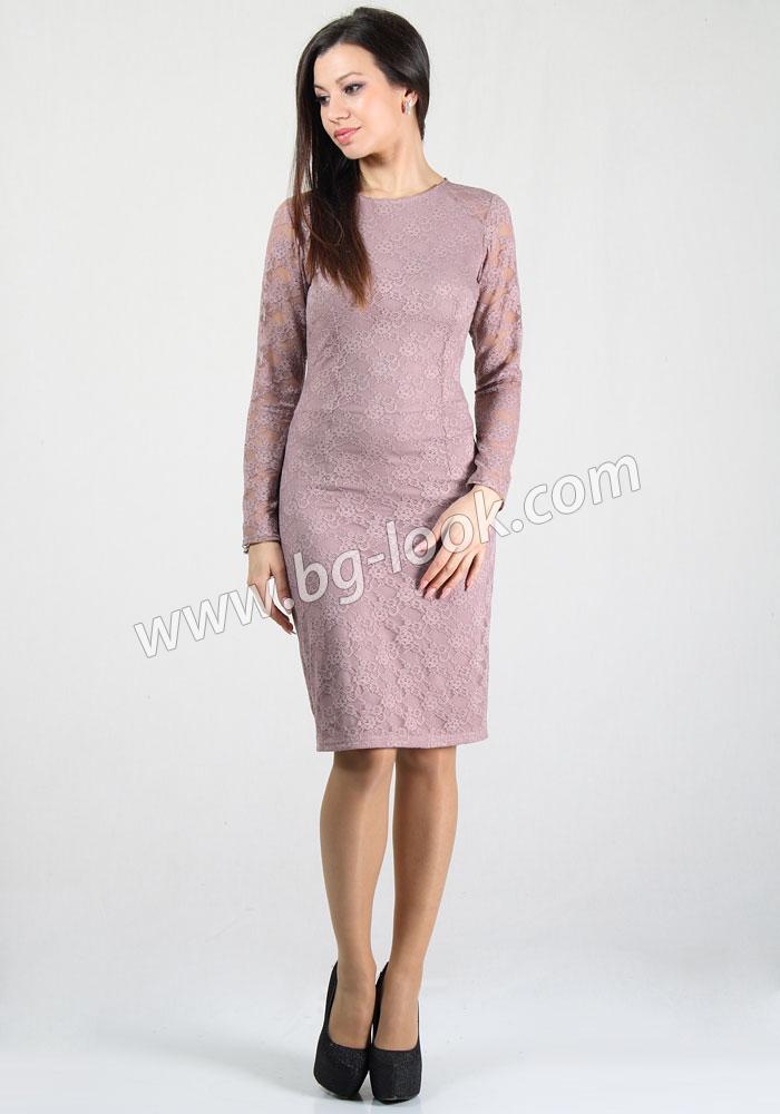7c57658201a Елегантна дантелена рокля в цвят пепел от рози RUMENA - Дрехи ...