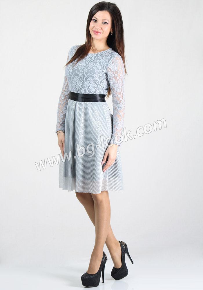 2e123f6c12a Елегантна рокля в плисиран сребрист солей и дантелен топ с черен ...