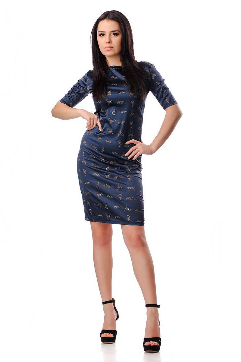 e54b85b8e43 Вталена дамска рокля в синьо - Дрехи Fashion Colors ✨