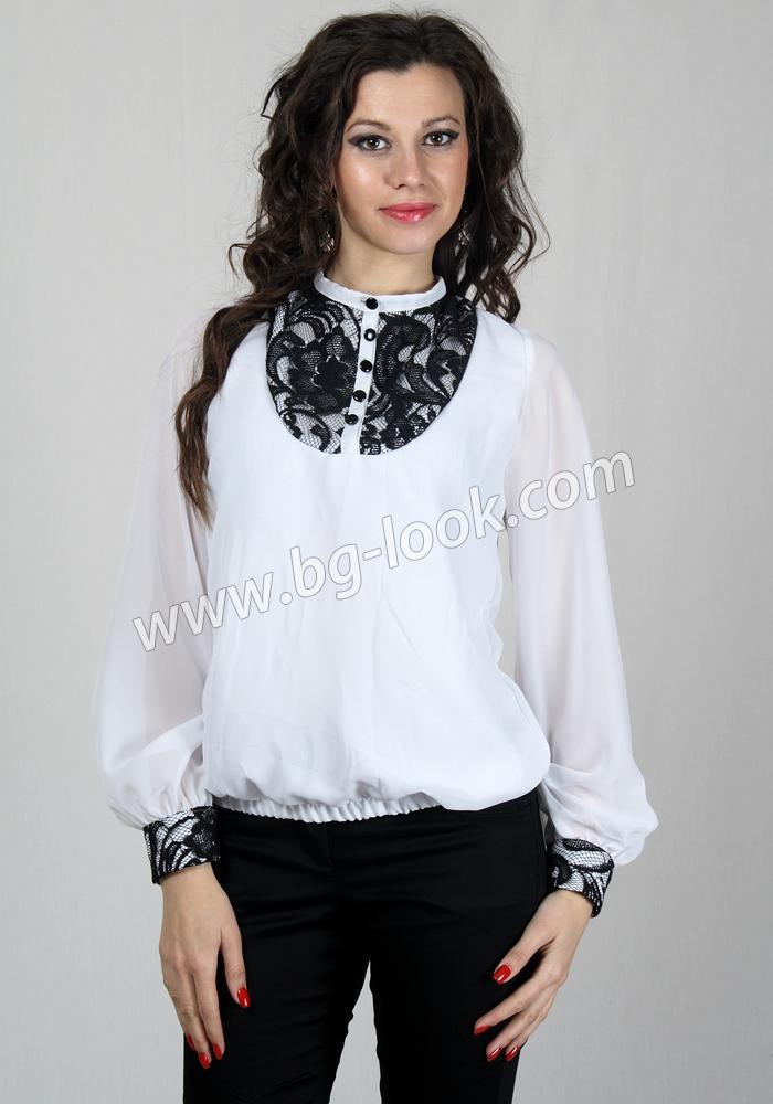 be9332808de Дамска елегантна блуза с шифонени ръкави и дантелени акценти RUMENA ...