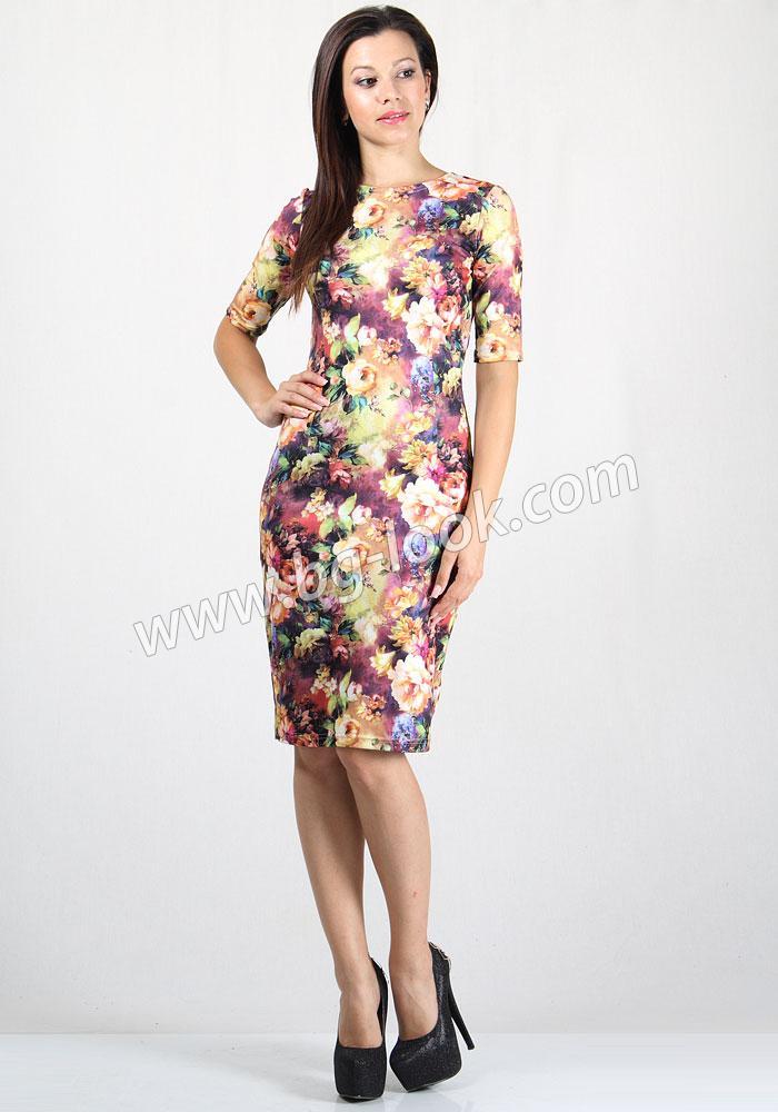 b2f5be27af5 Дамска рокля в красив десен на цветя RUMENA - Дрехи Fashion Colors ✨
