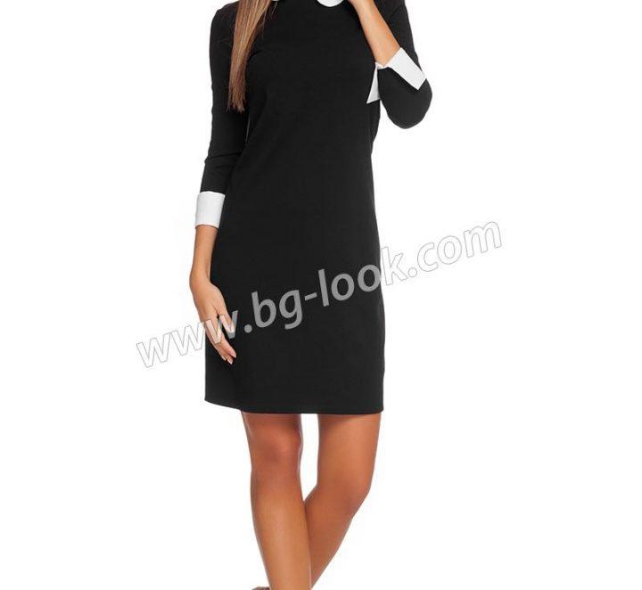 Униформа с черна къса рокля с яка и маншети в бяло